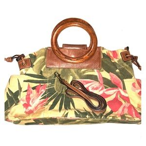Fossil floral canvas with round wooden handles bag